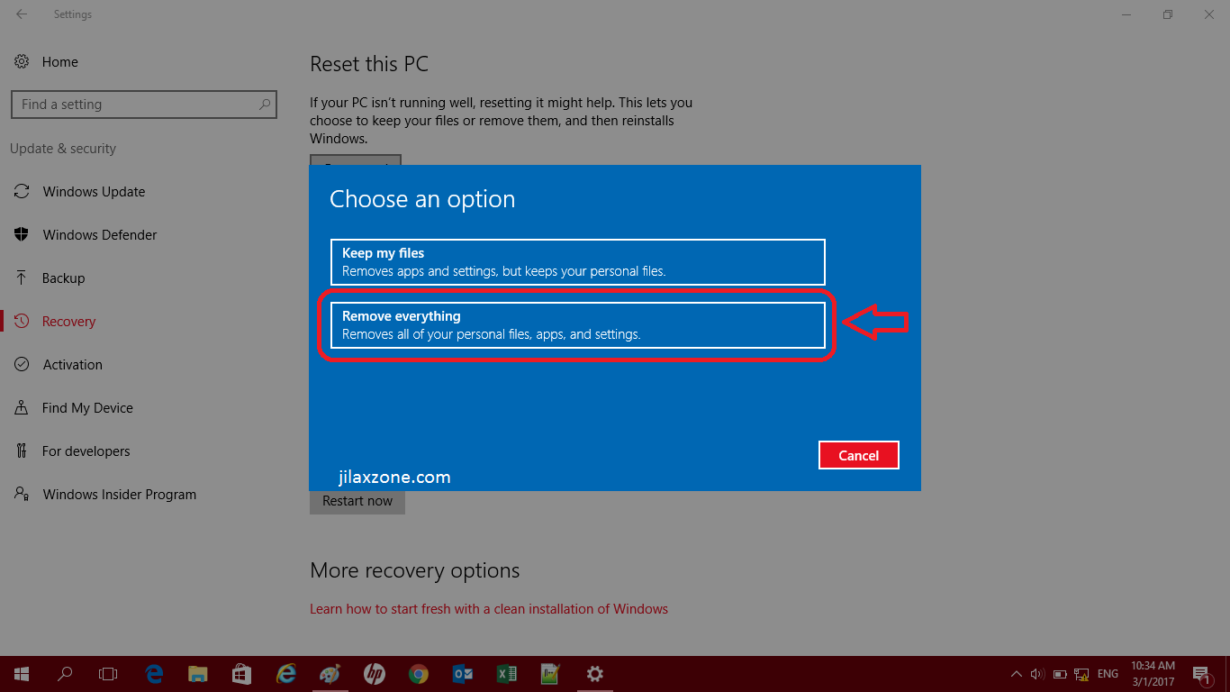 windows 10 how to reset windows 10 pc to factory settings without wiping the entire os jilaxzone. Black Bedroom Furniture Sets. Home Design Ideas