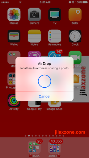 Apple AirDrop jilaxzone.com send photos easily on iPhone