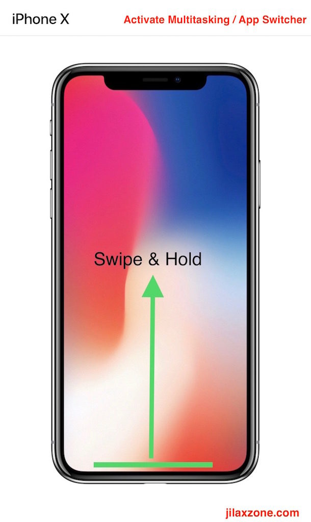 Apple iPhone X Navigation jilaxzone.com App Switcher Swipe and Hold