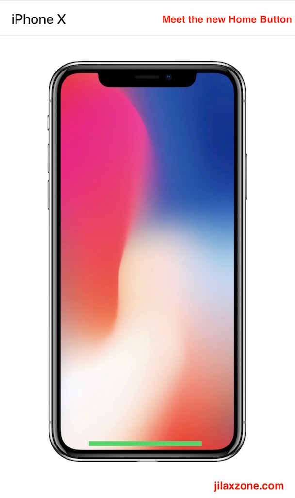 Apple iPhone X Navigation jilaxzone.com Home Button Single Swipe Up