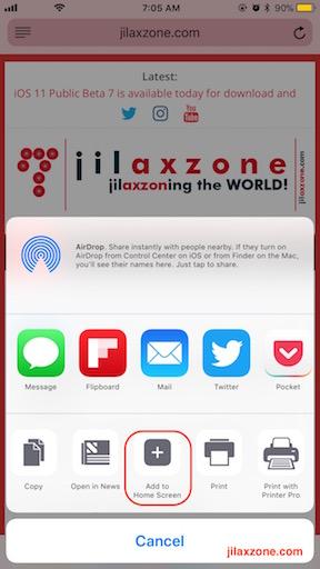 iOS Home Screen Website Bookmarking jilaxzone.com Add to Home Screen