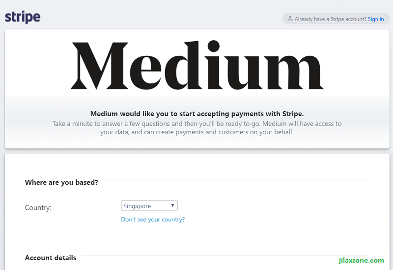 Medium Partner Program jilaxzone.com setup stripe account