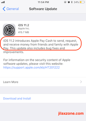 Apple Pay Cash jilaxzone.com iOS 11.2 enable Apple Pay Cash