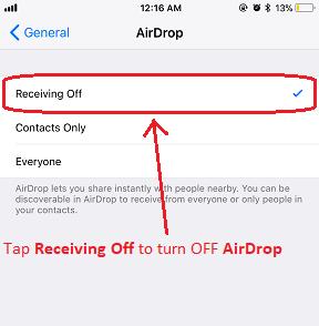 iOS 11 AirDrop jilaxzone.com Receiving OFF