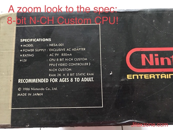 Nintendo NES Jilaxzone.com A zoom look to Nintendo box