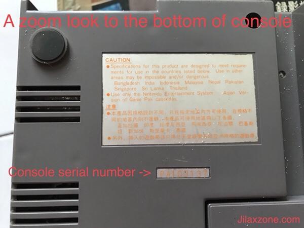 Nintendo NES Jilaxzone.com zoom look at Bottom console view