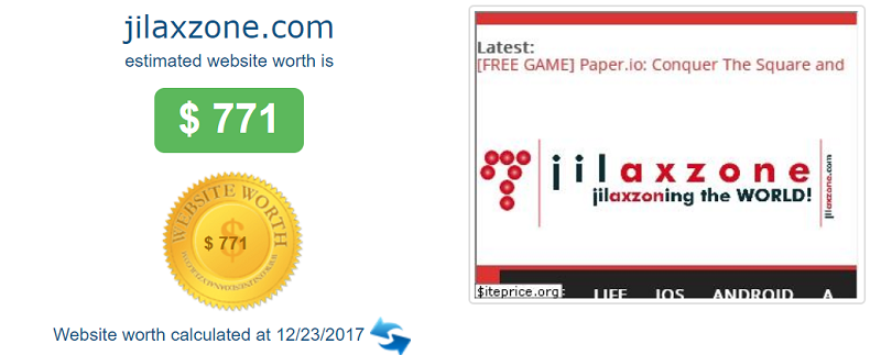 jilaxzone.com website worth $771 in 2017