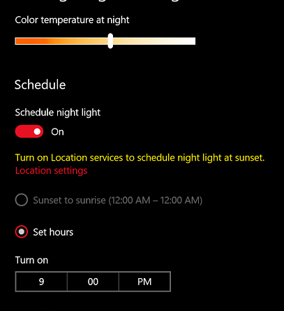 how to change color temperature in windows 10