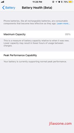 iOS 11.3 Battery Health jilaxzone.com iPhone Maximum Capacity