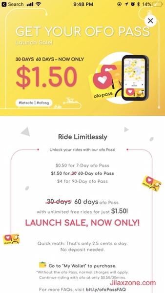 Ofo Bike Singapore Bike Sharing Promotion Jilaxzone.com