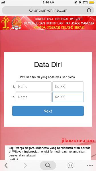 Antrian Paspor Bekasi Masukan data diri jilaxzone.com