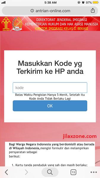 Antrian Paspor Bekasi Masukan kode jilaxzone.com