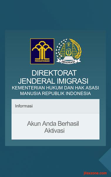 Aplikasi Antrian Paspor Online jilaxzone.com Aktivasi Berhasil