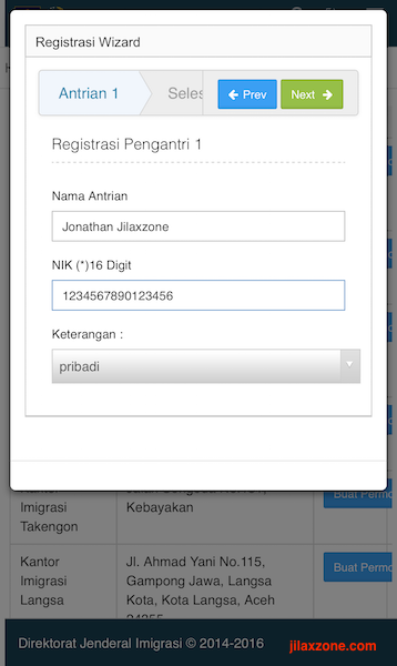 Aplikasi Antrian Paspor Online jilaxzone.com Registrasi Pengantri Wizard