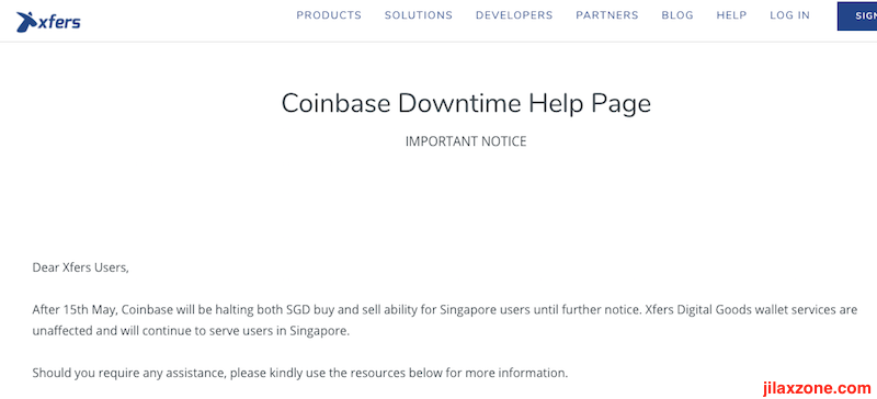 Coinbase halting operation in Singapore Xfers.io jilaxzone.com