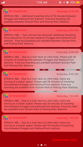 Singapore Train Service Disruptions jilaxzone.com Annoncement