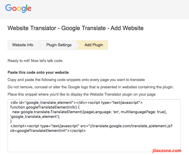 Enable website in different language jilaxzone.com Google Translate Get the code