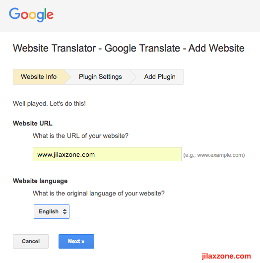 Enable website in different language jilaxzone.com Google Translate Website Info