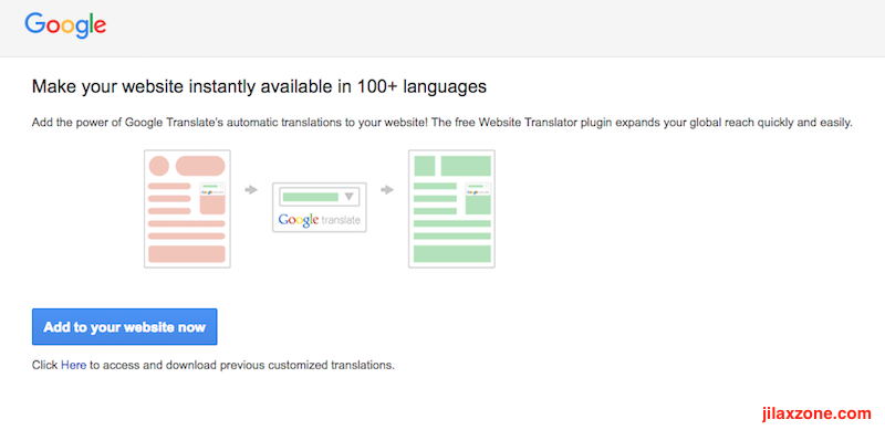 Enable website in different language jilaxzone.com Google Translate