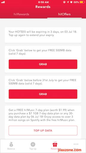 Singtel Prepaid Hi!app free bonus data jilaxzone.com 2
