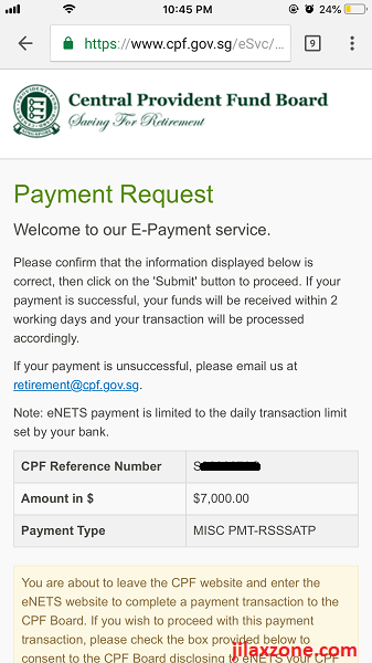 8 CPF cash top-up jilaxzone.com RSTU Step 3 payment request