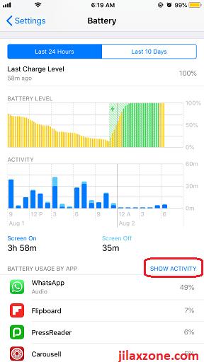 iOS12 Battery Level and Activity jilaxzone.com