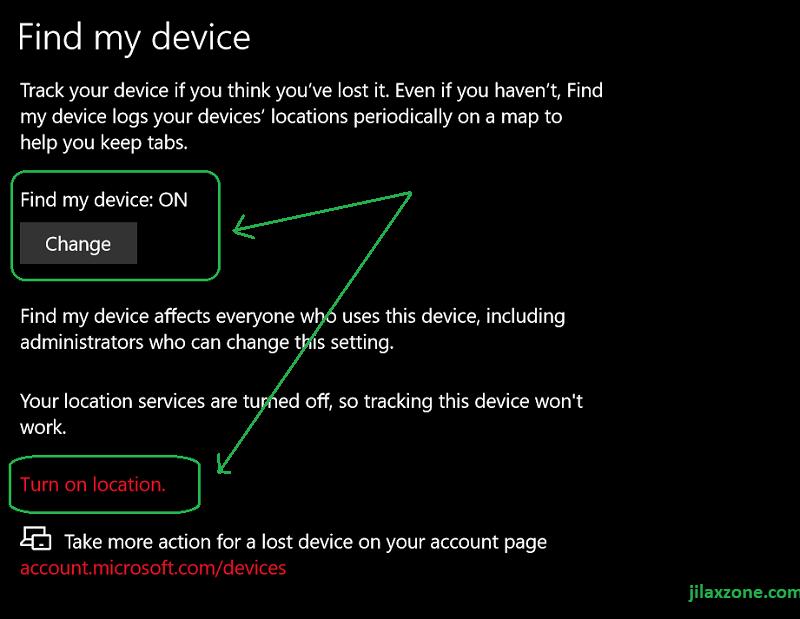 windows find my device turn on jilaxzone.com