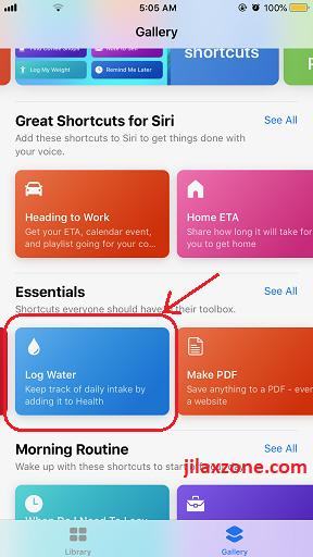 Siri Shortcuts example log water jilaxzone.com