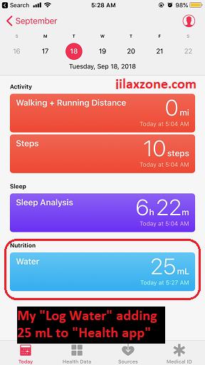 Siri Shortcuts log water added to health app jilaxzone.com