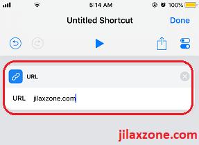 Siri Shortcuts type in the custom URL jilaxzone.com