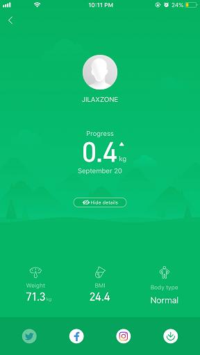 xiaomi mi scale BMI my profile jilaxzone.com