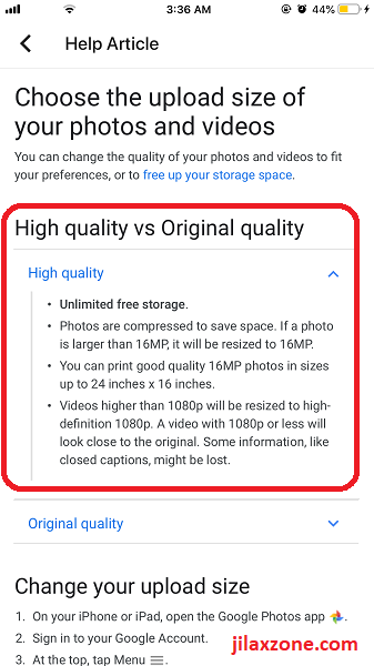 Google Photos high quality vs original quality explanation jilaxzone