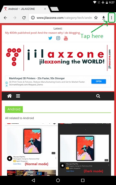 android browser tweak jilaxzone.com website app icon 3-dots menu