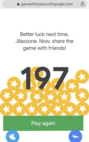 Google Game of the Year - my score first time playing it. Not bad! Jilaxzone.com