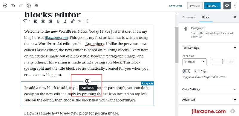 WordPress 5.0 Editor - Another way to add a new building block to a post.