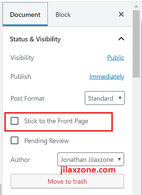WordPress 5.0 Editor - Make article sticky on the front page