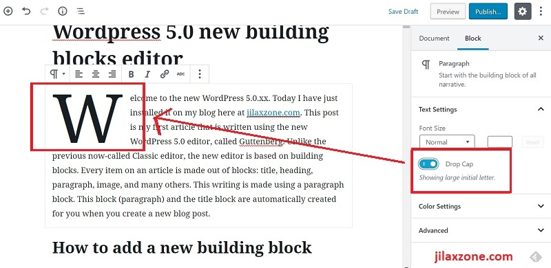 WordPress 5.0 Editor - Enable Drop Cap on a paragraph