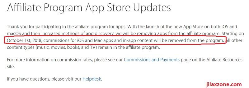 Apple affiliate Program App Store Updates jilaxzone