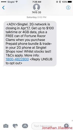 2G network shut down Singtel announcement