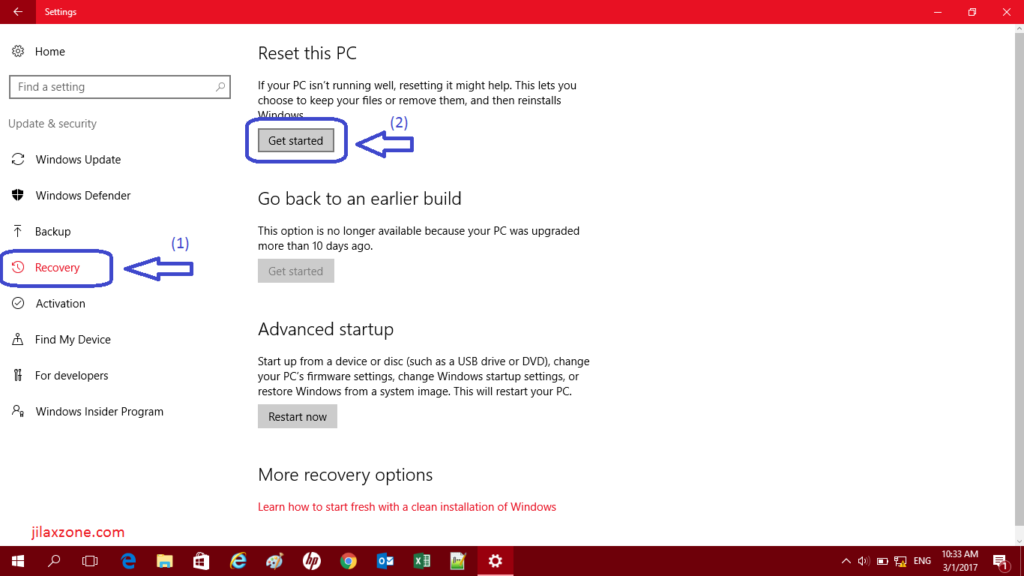 Reset Windows 10 jilaxzone.com Find Recovery then Get Started