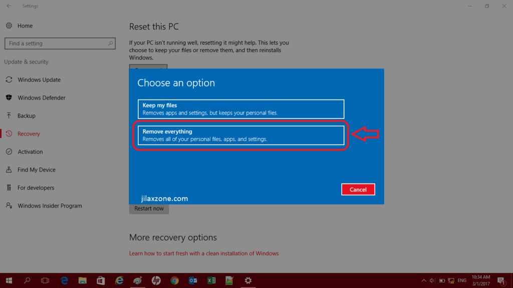Reset Windows 10 jilaxzone.com Remove Everything