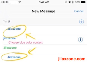 Download and Use iMessage Sticker jilaxzone.com choose blue color contact