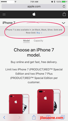 Red iPhone 7 jilaxzone.com Apple.com special purchase page