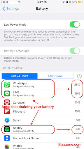 iPhone Battery Draining Fix jilaxzone.com kill apps with background activity