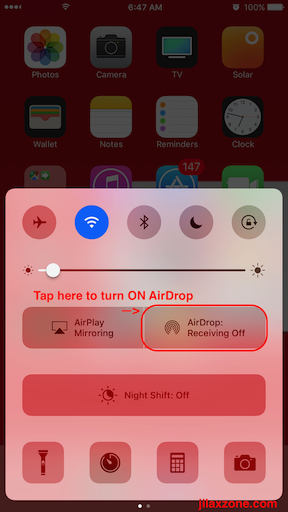 Apple AirDrop jilaxzone.com Turn ON AirDrop