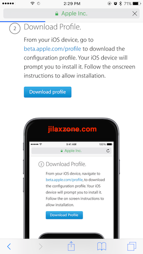 Apple iOS 11 jilaxzone.com Download Profile for Public Beta