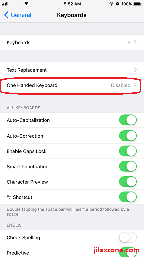 iOS 11 One Handed keyboard jilaxzone.com Settings