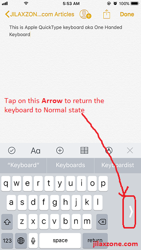 iOS 11 One Handed keyboard jilaxzone.com back to normal