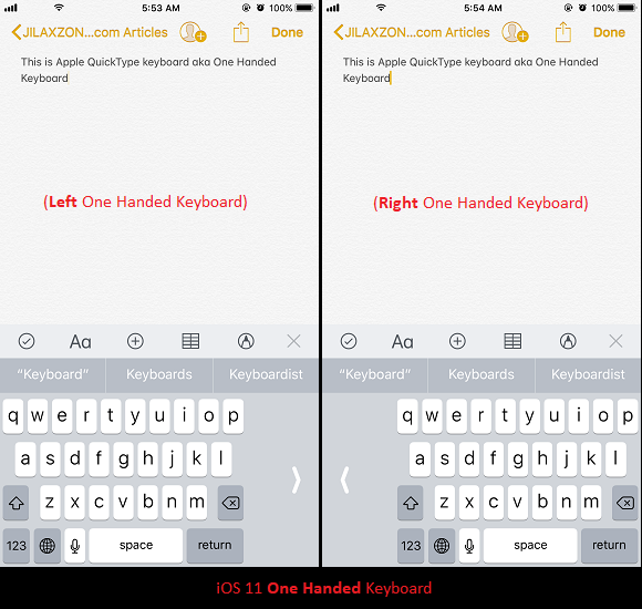 iOS 11 One Handed keyboard jilaxzone.com show off revised