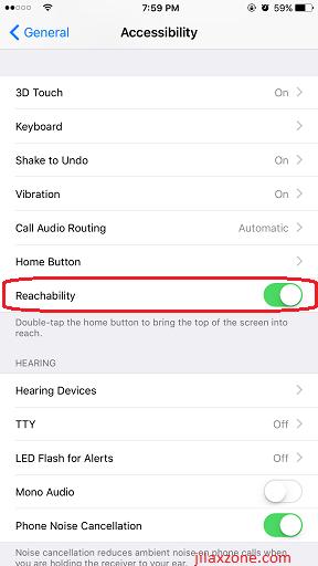 iPhone Reachability jilaxzone.com enable reachability